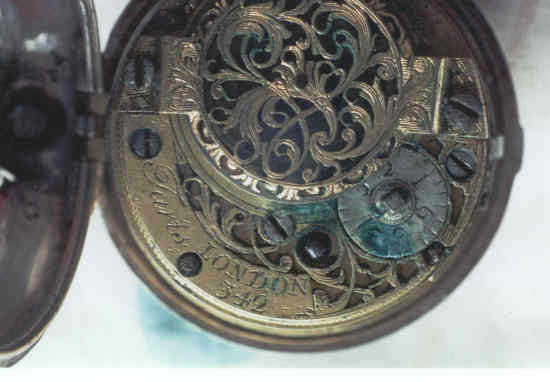 tarnished main plate in an 18th century fuse watch